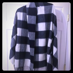 J. Crew Womens Cape Scarf in blue and white plaid